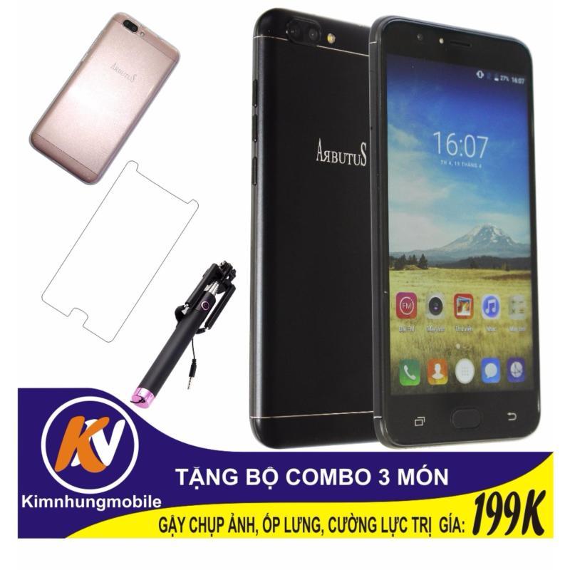 Arbutus Max Plus 16GB + Cường lực + Ốp lưng Kim Nhung (Đen) - Hàng nhập khẩu + Gậy chụp ảnh