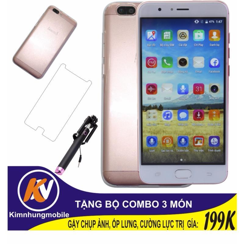 Arbutus Max Plus 16GB + Cường lực + Ốp lưng Kim Nhung (Hồng) - Hàng nhập khẩu + Gậy chụp ảnh