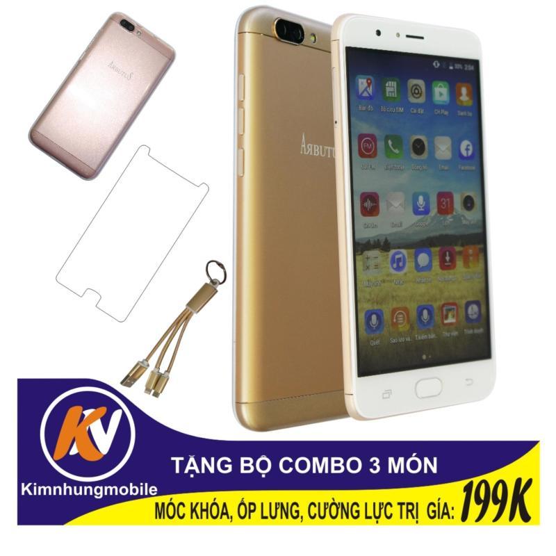 Arbutus Max Plus 16GB + Cường lực + Ốp lưng Kim Nhung (Vàng) - Hàng nhập khẩu + Móc khóa 3 đầu