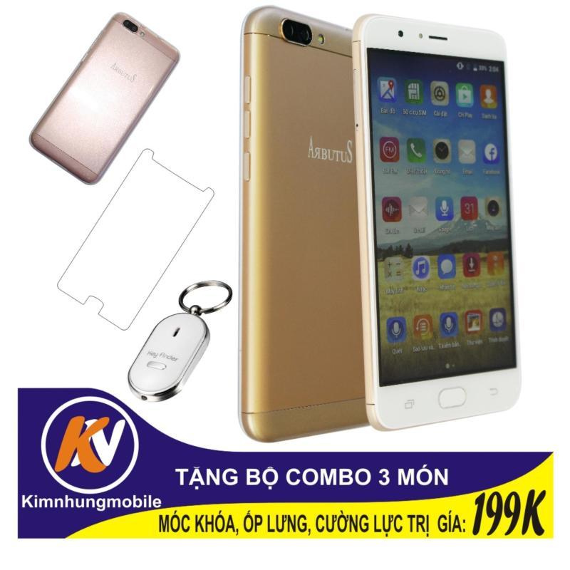 Arbutus Max Plus 16GB + Cường lực + Ốp lưng Kim Nhung (Vàng) - Hàng nhập khẩu + Móc khóa huýt sao thông minh