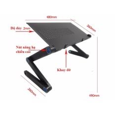 Bàn để laptop xoay 360 độ gấp gọn tiện dụng kèm bàn di chuột (có 2 quạt tản nhiệt) LTT-08