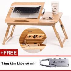 Bàn gỗ laptop có 2 quạt tản nhiệt GocgiadinhVN L06 + Tặng kèm khoá số vali