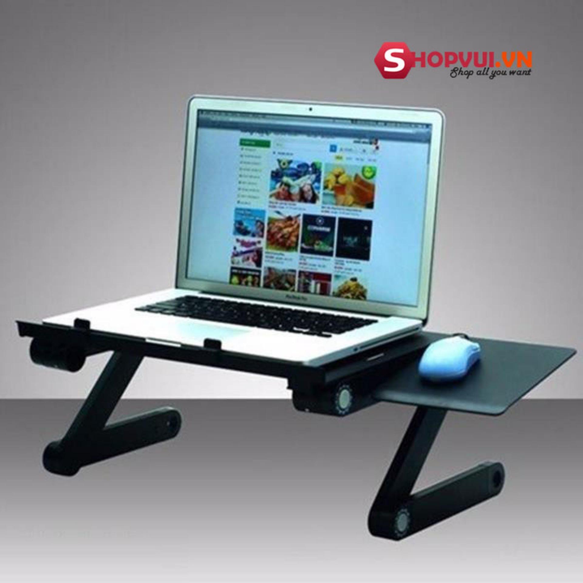 Bán buôn Bàn Kê Laptop 3 khớp xoay 360 độ, 2 Quạt Tản Nhiệt Có Bàn Di Chuột (Đen)