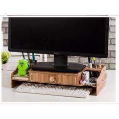 Bàn kê màn hình máy tính Monitor, Laptop đa năng bằng gỗ ghép có hộc tủ tiện dụng cao cấp (Nâu)