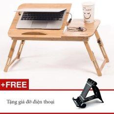 Bàn Laptop Gỗ đa năng GocgiadinhVN01 + Tặng kèm giá điện thoại