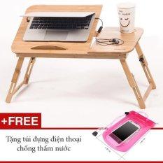 Bàn Laptop Gỗ đa năng GocgiadinhVN01 + Tặng kèm túi đựng điện thoại