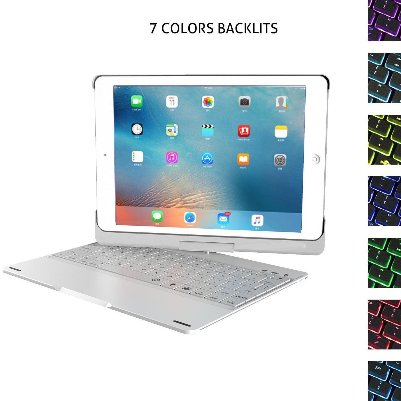 Bàn Phím Bluetooth iPad 9.7 Inch Ốp Lưng Xoay 360 Độ Đèn LED PKCB 180