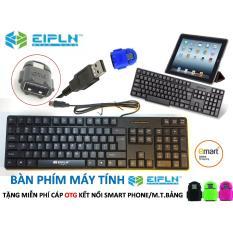 Bàn phím EIPLN E30 cao cấp, chân USB + Tặng miễn phí cáp OTG kết nối Smart phone/ Máy tính bảng