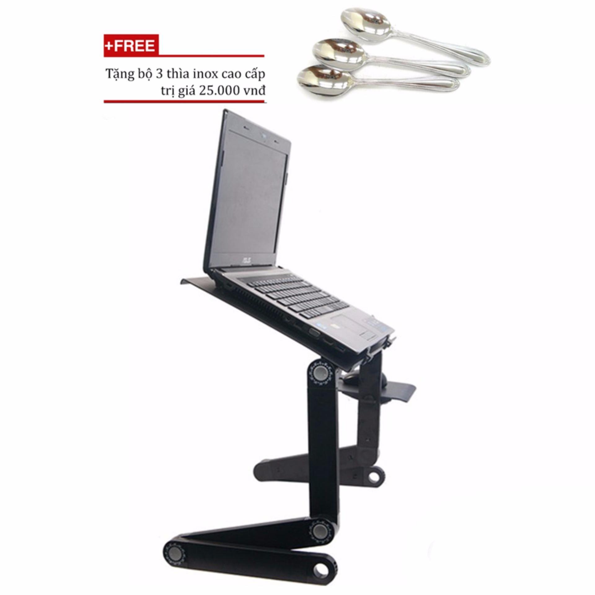 Mua Bàn xoay laptop đa năng 360 độ T6/bàn kê laptop hcm (Đen+ Tặng bộ 3 thìa inox cao cấpở đâu rẻ nhất
