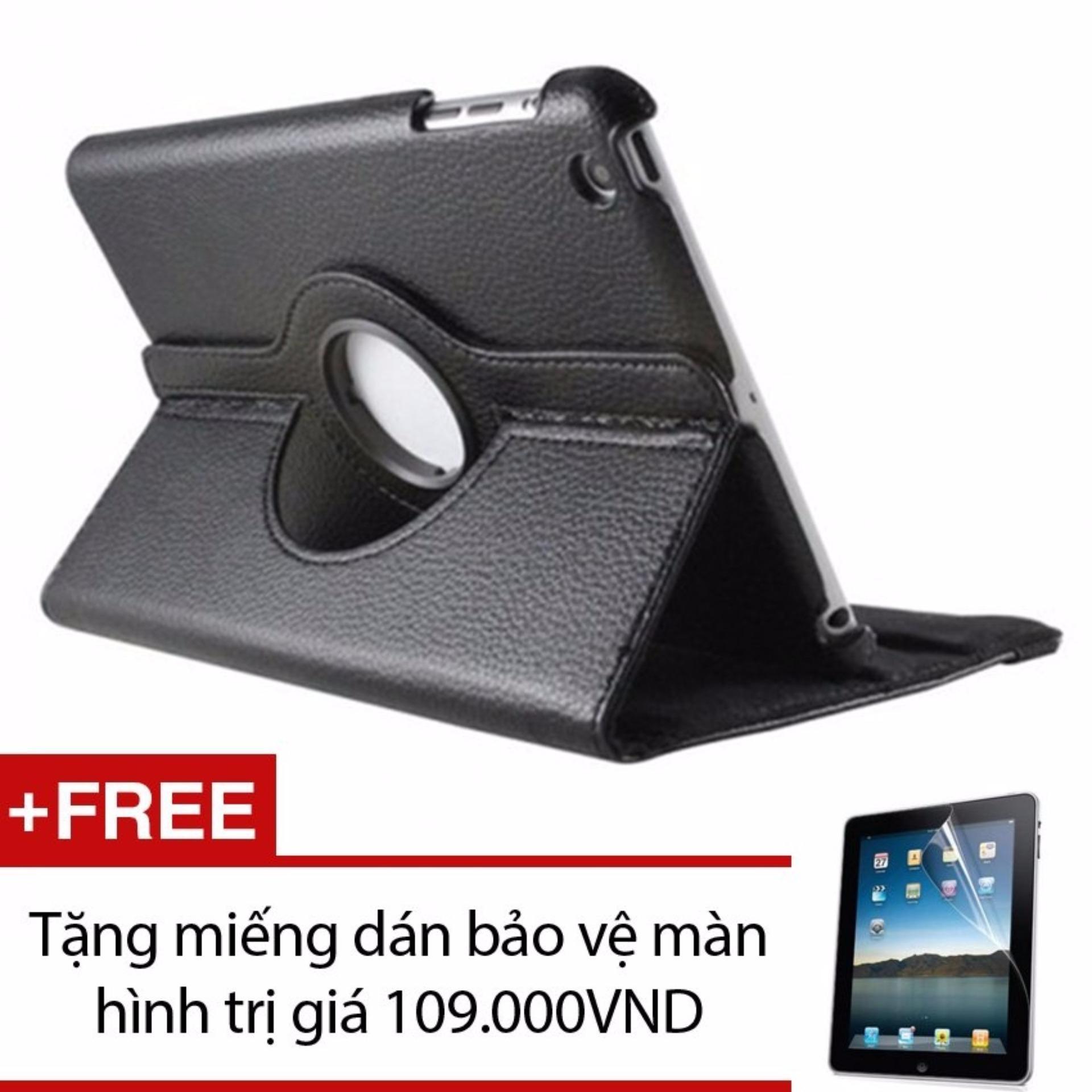 Bao da dành cho iPad 2 3 4 Xoay 360 – Lopez Cute (Đen) + Tặng miếng dán bảo vệ màn hình