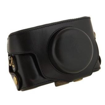 Black Camera Case Bag Leather Case Cover for Digital CameraPentaxMX1 - intl