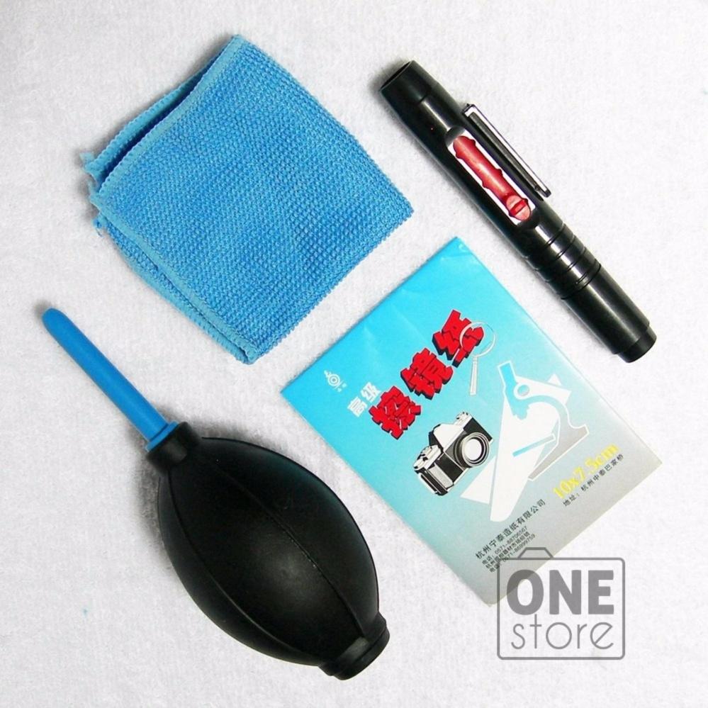 Bộ 1 bóp thổi bụi + 1 bút chùi lens + 1 khăn lau lens +1 xấp giấy chùi lens