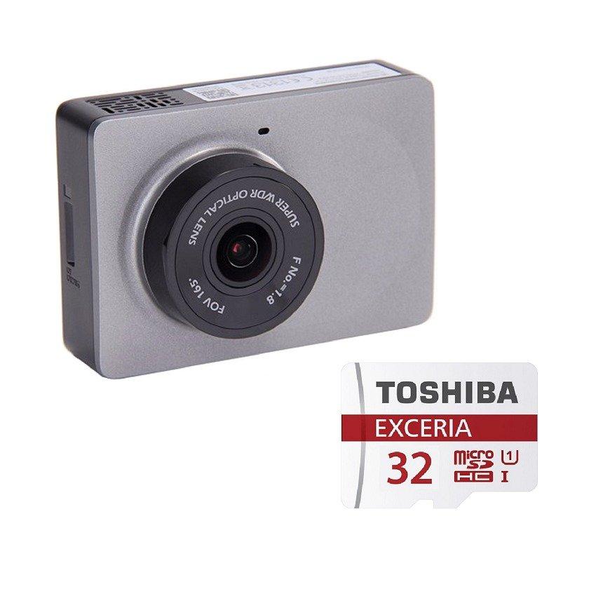 Bộ 1 Camera hành trình xe hơi ô tô xiaomi Yi Smart Car DVR (Xám) và 1 thẻ nhớ Toshiba 32GB Class 10