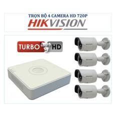 Bộ 1 đầu ghi hình 4 kênh Hikvision DS-7104HGHI-F1 + 4 Camera hồng ngoại 1 Megapixel Hikvision DS-2CE16C0T-IRP + 1 dây HDMI 1.5 mét và 8 Rắc BNC + 4 nguồn DV 12V/2A