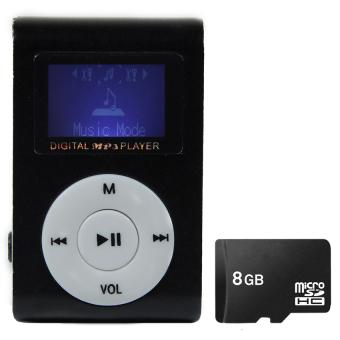 Bộ 1 Máy nghe nhạc MP3 có màn hình LCD kiểu kẹp (Đen) và 1 thẻ nhớ8GB