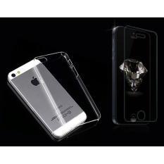 Bộ 1 miếng dán cường lực và 1 ốp lưng dẻo dành cho iPhone 5/5S (Trong suốt), tặng kèm khăn lau mặt kính