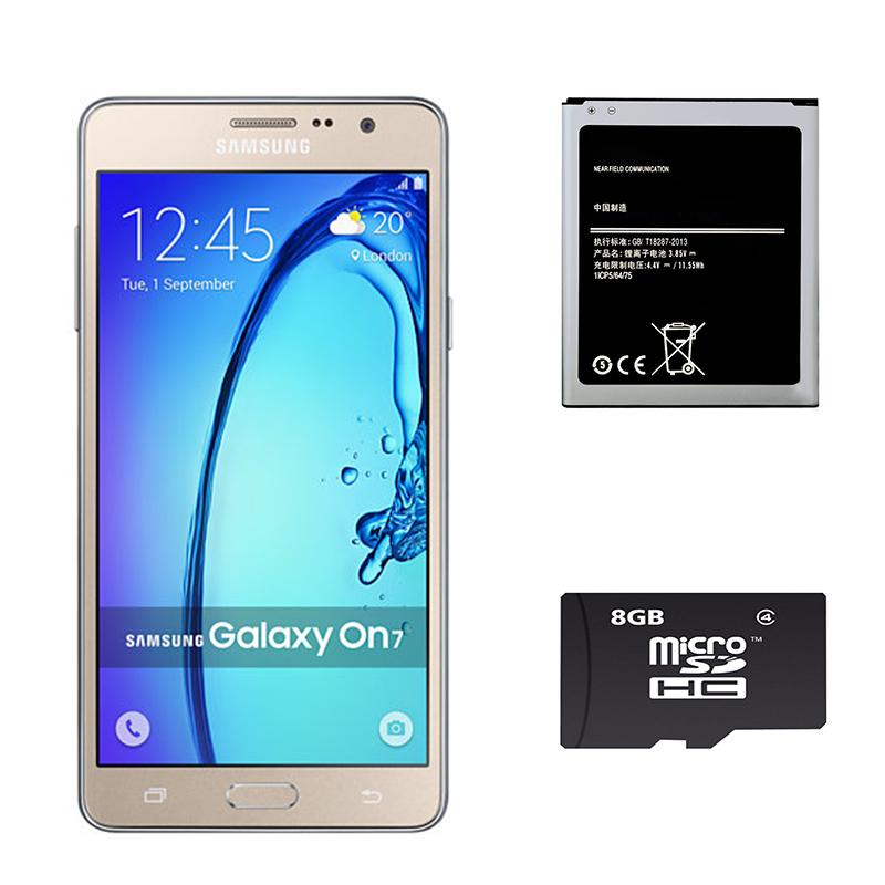 Bộ 1 Samsung Galaxy On7 8 GB (Vàng) - Hàng nhập khẩu + 1 Pin dành cho On7 + 1 Thẻ Nhớ 8Gb