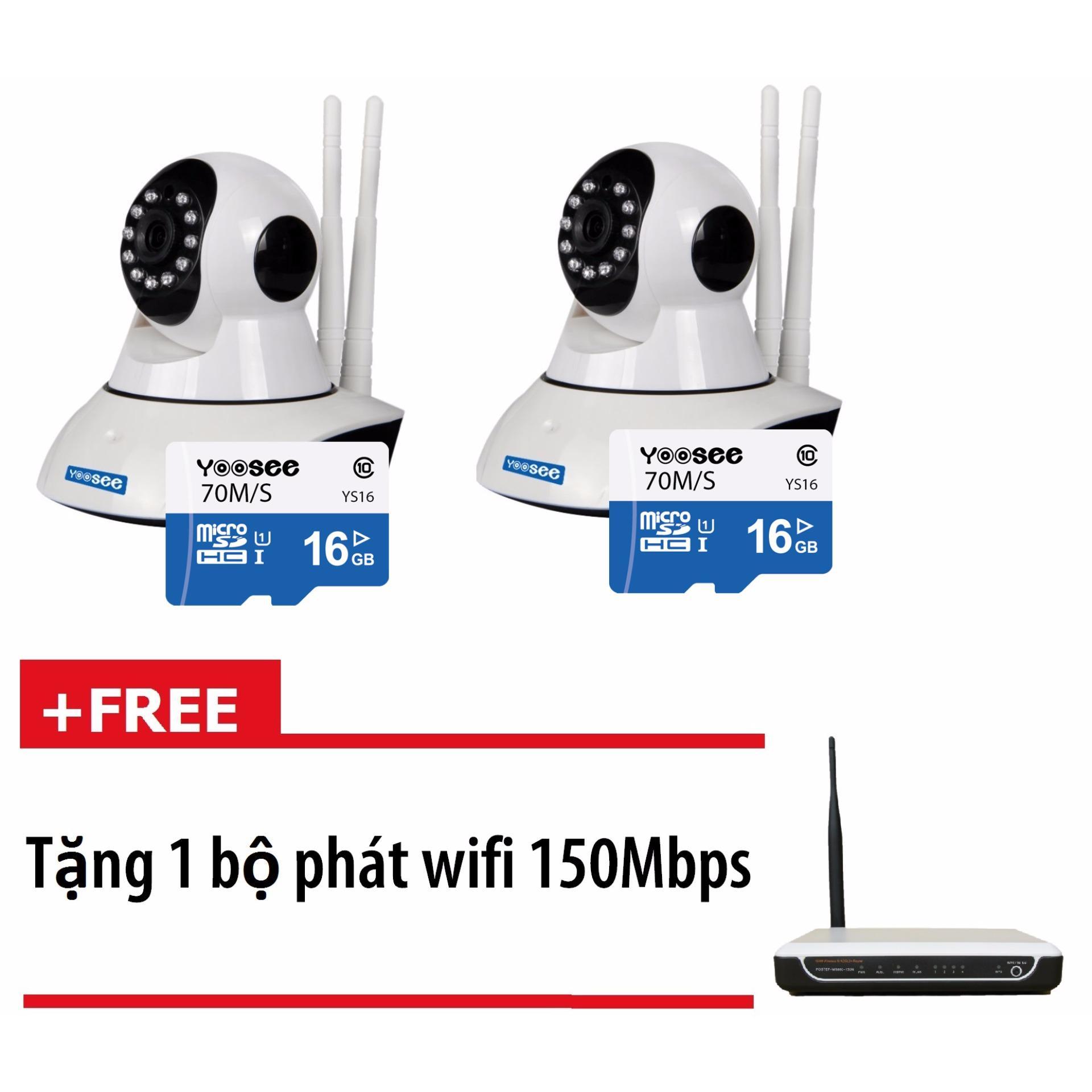 Bộ 2 camera không dây wifi YooSee YS1200 có Thẻ nhớ 16GB + Tặng kèm 1 bộ phát wifi 150Mbps