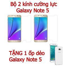Bộ 2 kính cường lực Galaxy Note 5 tặng ốp lưng dẻo Note 5