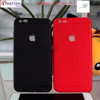 Bộ 2 ốp lưng cho Iphone 6/6S Plus Silicone dẻo (đen, đỏ)+ tặng que chọc Sim Inox