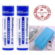 Bộ 2 Pin sạc 18650 Lithium-Ion 3.7v 3000mAh + Tặng Box sạc dự phòng 2 khe pin xanh dương