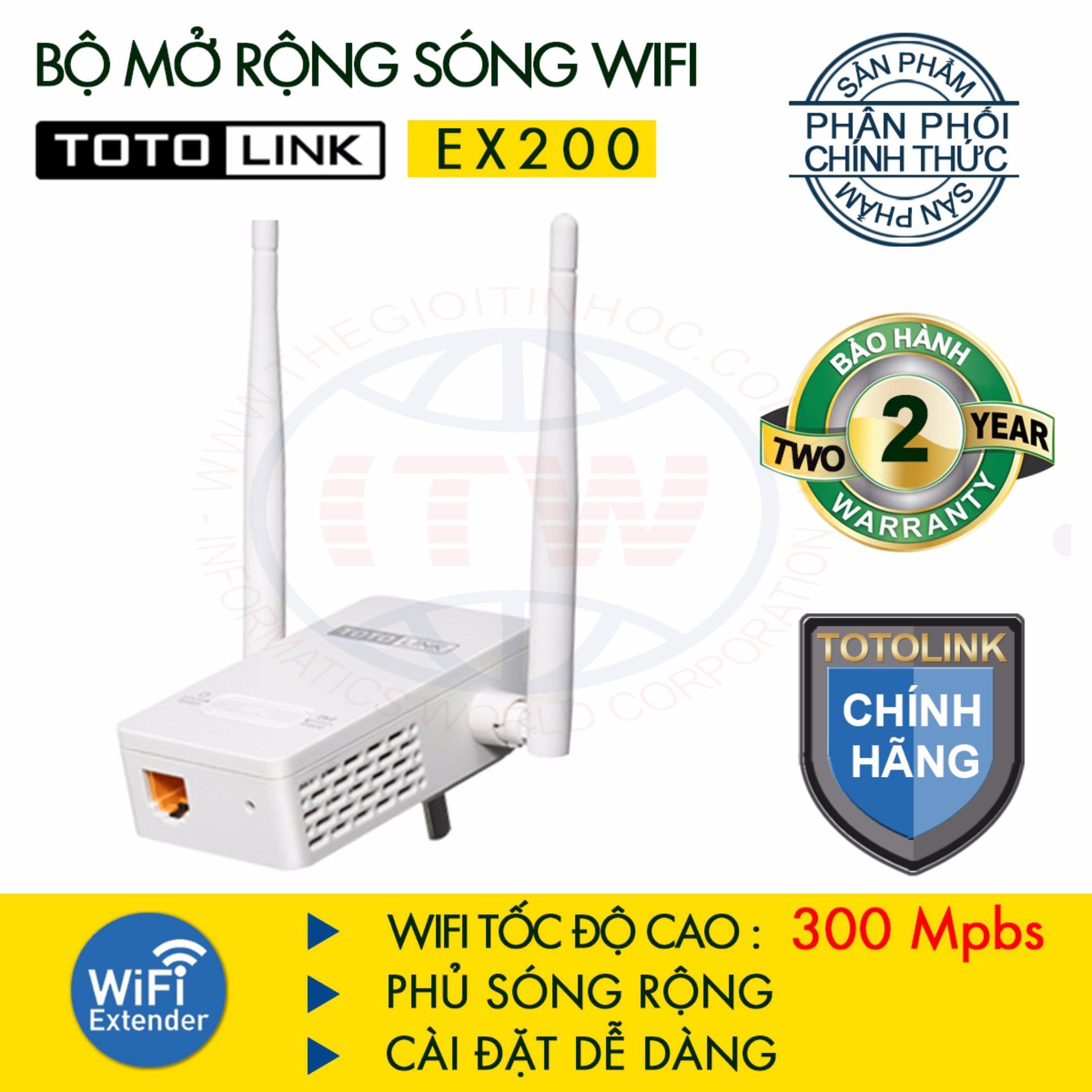Bộ 2 thiết bị mở rộng sóng WiFi TOTOLINK EX200 – Hãng phân phối chính thức