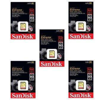 Bộ 5 thẻ nhớ SDXC SanDisk Extreme 64GB 90MB/s (Vàng đồng)