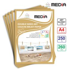 Bộ 5 Xấp Giấy In Ảnh Media 2 Mặt Bóng Sọc (Art Glossy) A4 (21 x 29.7cm) 260g 50 tờ x 5 – Hàng Nhập Khẩu