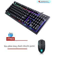 Bộ bàn phím giả cơ có led 7 màu chuyên game GMTP G20 (Đen) + Tặng chuột chơi game tốc độ