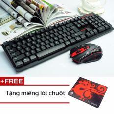 Bộ Bàn Phím Và Chuột Không Dây Hk6500 Chuyên Game (Màu đen) + Tặng kèm tấm lót chuột