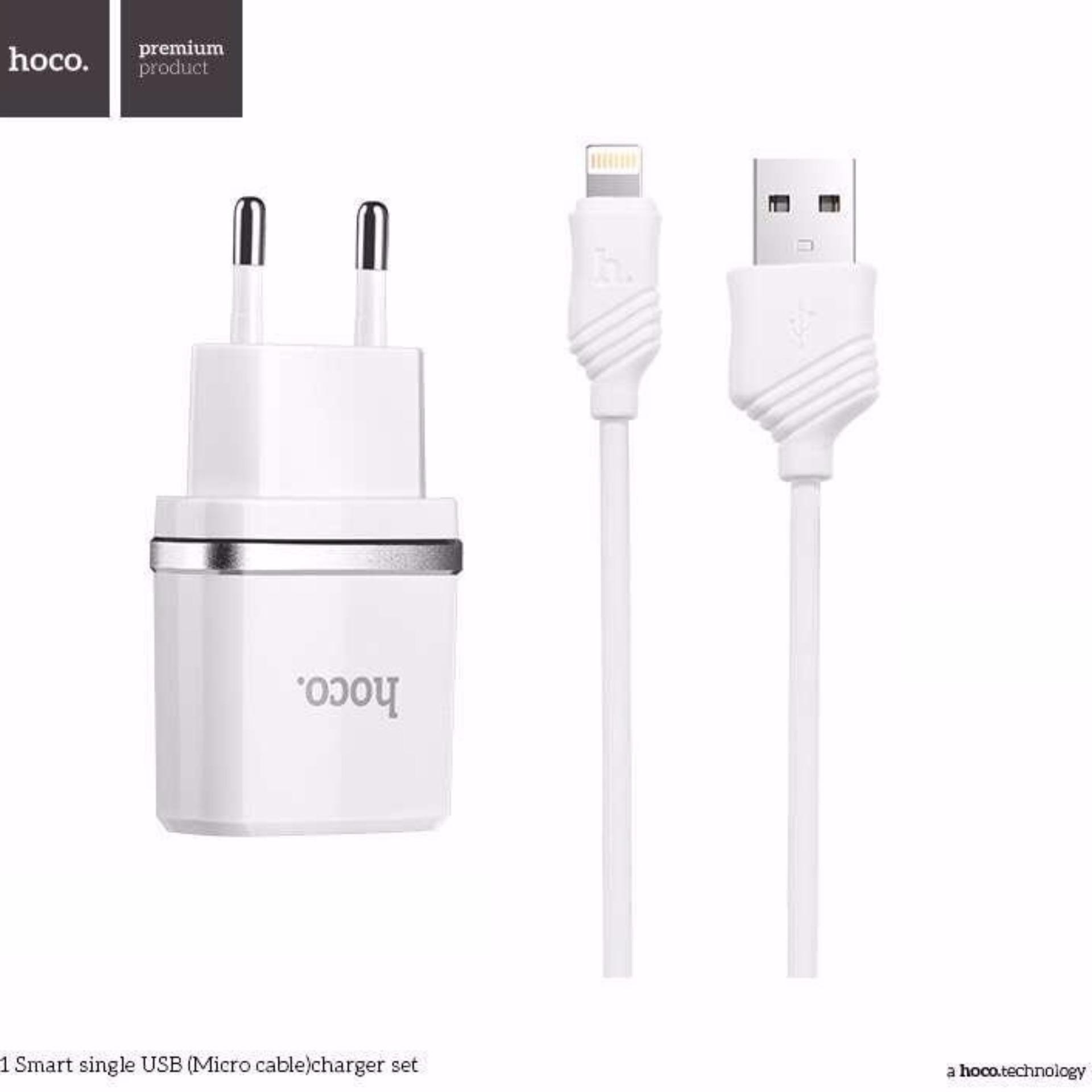 Bộ cáp và Cốc sạc cao cấp Hoco C11 (1.0A USB Output) – cổng Lightning cho Iphone, Ipad