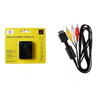 Bộ Card Save Sony 8MB và Dây Cáp AV Video cho máy Playstation 2