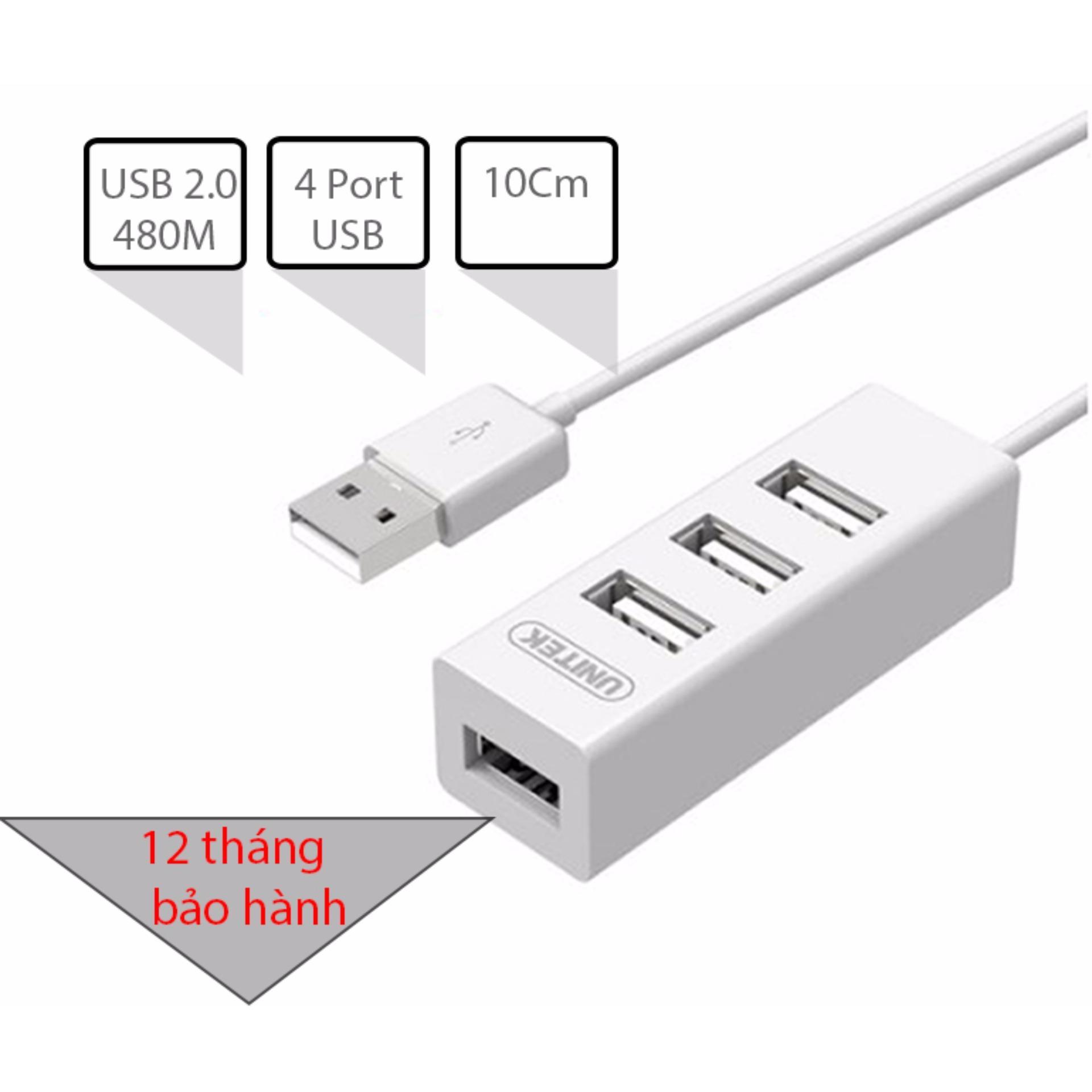 Bộ chia USB 2.0 4 cổng dây ngắn gọn 10Cm UNITEK Y-2146 (màu trắng)