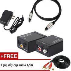 Bộ chuyển âm thanh TV 4K quang optical sang audio AV ra amply + Cáp optical 1.m
