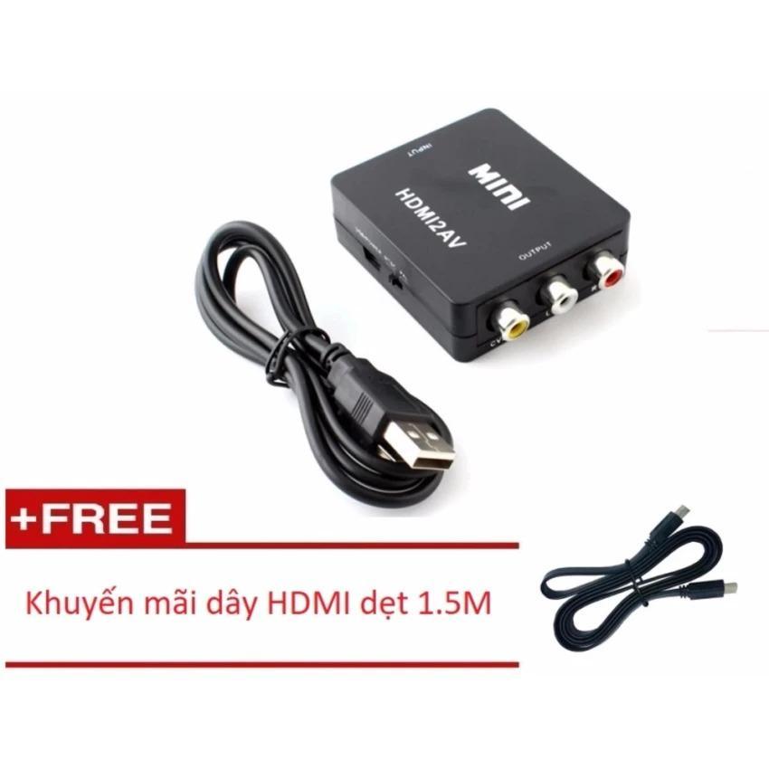 Bộ chuyển đổi HDMI to AV MHCA01 (Đen) + Dây HDMI dẹt 1.5M