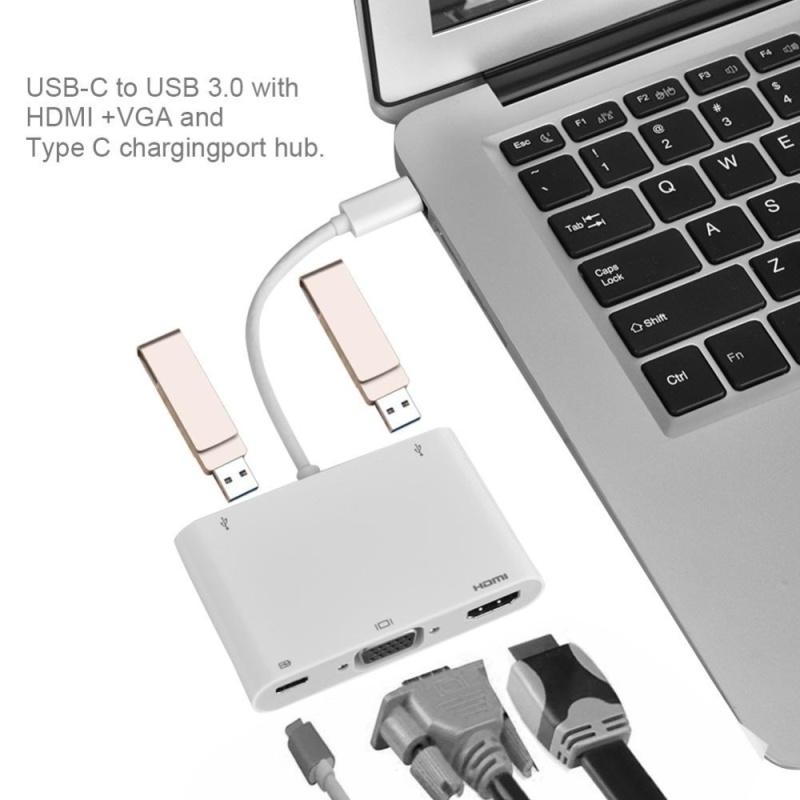 Bảng giá Bộ chuyển đổi sạc Type-C sang VGA + HDMI + Type-C + 2 USB3.0 cho  Macbook Trắng - intl Phong Vũ