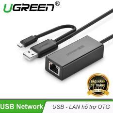 Bộ chuyển đổi USB 2.0 sang LAN 10/100 Mbps CR110 hỗ trợ OTG UGREEN 30219