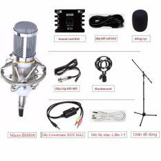 Bộ combo Karaoke/Livestream Mini tại gia cho bạn trải nghiệm tuyệt vời với Sound card XOX k10 + Micro BM 800 + Dây Livestream MA2 + Chân đế Boom mic stand