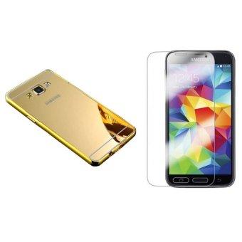 Bộ dán kính cường lực và ốp lưng cho Samsung Galaxy Grand 2 gương (Vàng)