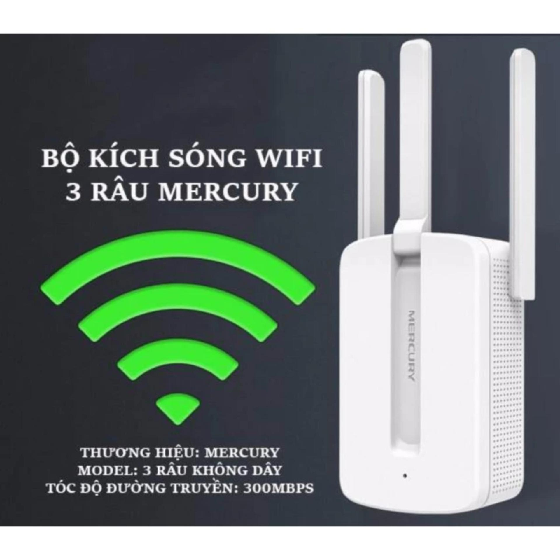 Bộ kích sóng wifi 3 râu Mercury (wireless 300Mbps) cực mạnh
