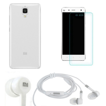Bộ Kính cường lực 2.5 D + ốp lưng silicon Xiaomi Mi4 (Trắng) + Tai nghe (Trắng)