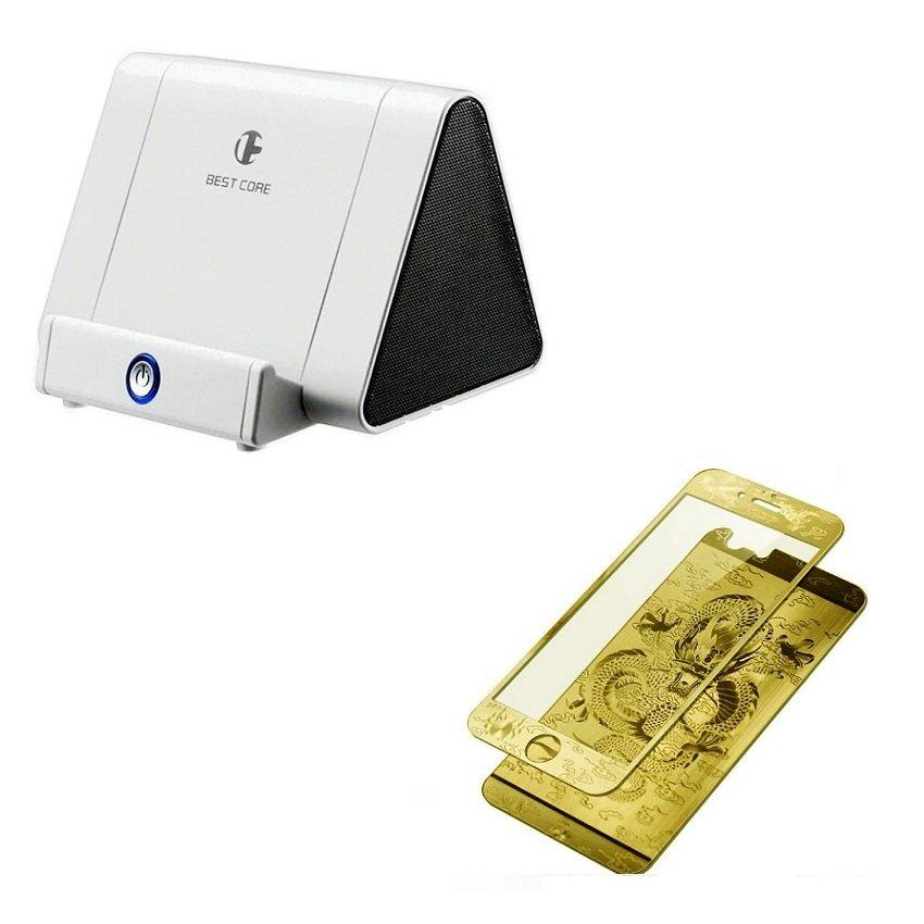 Bộ Loa cảm ứng khuếch đại âm thanh Best Core và miếng dán cường lực rồng vàng chi iPhone 5