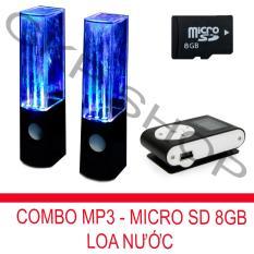 Bộ loa nhạc nước 3D (Đen) + Máy nghe nhạc MP3 LCD vuông (Đen) + Thẻ nhớ MicroSD 8GB PeepVN Combo39