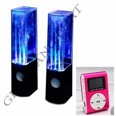Bộ Loa nhạc nước 3D (Đen) + Máy nghe nhạc MP3 LCD vuông Gia Khang Phát (Hồng)