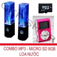 Bộ loa nhạc nước 3D (Đen) + Máy nghe nhạc MP3 LCD vuông (Hồng) + Thẻ nhớ MicroSD 8GB PeepVN Combo36
