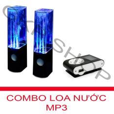 Bộ Loa nhạc nước 3D (Đen) + Máy nghe nhạc MP3 LCD vuông PeepVN (Đen)