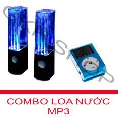 Bộ Loa nhạc nước 3D (Đen) + Máy nghe nhạc MP3 LCD vuông PeepVN (Xanh)