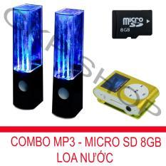 Bộ loa nhạc nước 3D (Đen) + Máy nghe nhạc MP3 LCD vuông (Xanh lá) + Thẻ nhớ MicroSD 8GB PeepVN Combo37