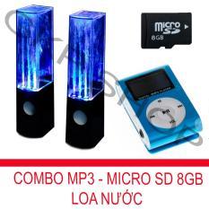 Bộ loa nhạc nước 3D (Đen) + Máy nghe nhạc MP3 LCD vuông (Xanh) + Thẻ nhớ MicroSD 8GB PeepVN Combo38