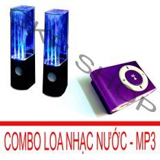 Bộ loa nhạc nước 3D (Đen) + Máy nghe nhạc MP3 vỏ nhôm Gia Khang Phát Combo62 (tím)